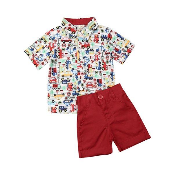 2 цвета горячего сбывания 1-6T младенца лета малышей одежды Набор малышей Kid Мальчик Эпикировка Автомобиль печати Рубашка Топ Шорты Одежда 2Pcs Одежда Set