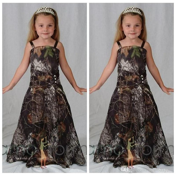 Newest Camo Flower Girl Dresses For Western Country Forest Weddings A Line Spaghetti Straps Long Girls Pageant Dresses Formal Party Gowns