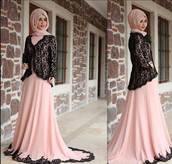 rosa chiaro Arabia saudita madre della sposa abiti con giacca nera in pizzo Sweep Train collo alto maniche lunghe Abiti da ballo Abiti da festa