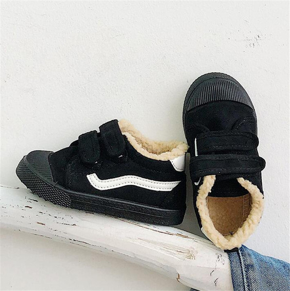 Boys winter warm shoes Girls snow boots 2019 new plus velvet children boots canvas shoes casual sneakers winter boots flat wear girls snow