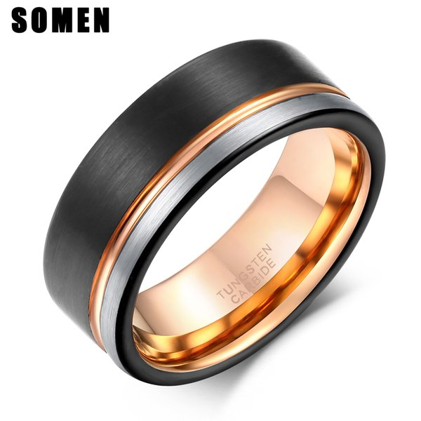 Fashion Jewelry s Somen Ring Men 8mm Tungsten Ring Black Rose Gold Line Brushed Wedding Band Engagement Ring Men's Party Jewelry Bague Homme