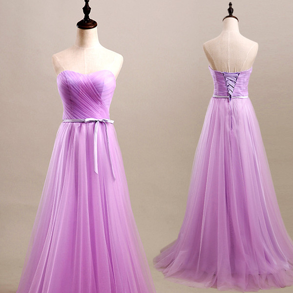 Tulle Mint Purple Pink Pleat Long Bridesmaids Dresses 2019 Cheap Bridesmaid Dresses Under 50 Wedding Party Dress Elegant Dresses Purple Bridesmaid