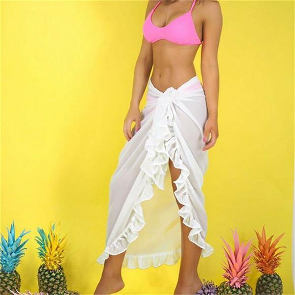 Women Swimwear Cover Up Ladies Lace-up Sheer High Waist Wrap Beach Skirt Sarong Pareo Maxi Long Skirt Pure Color Bikini Cover Up