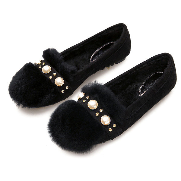 women 2019 winter snow boots fashion round toe pearl wild comfortable flat shoes women's boots b1