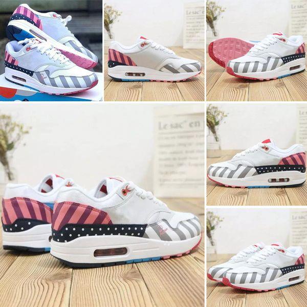 Nike air max 87 Sıcak Satış Toptan Atmos 87 Yıldönümü 1 Piet Parra 87 Premium 1 DELUXE WATERMELON Beyaz Mavi Koşu ayakkabıları sneaker en kaliteli