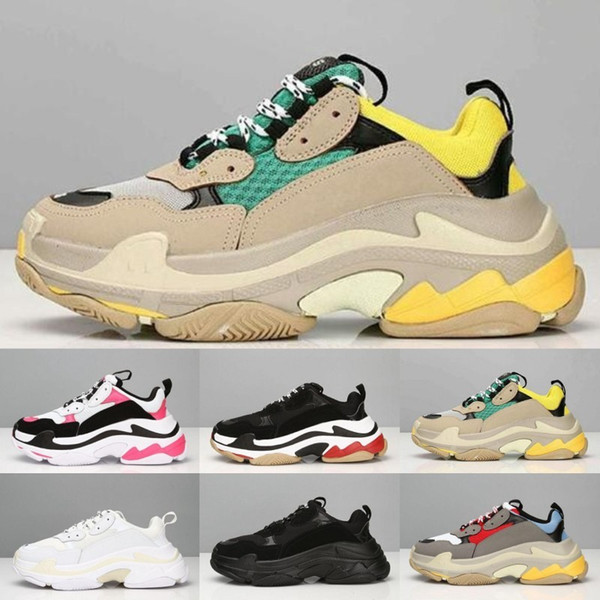 Cheap Fashion Paris 17FW Triple S Sneakers Triple-S Casual Dad Mens Designer Shoes for Women Beige Black Cheap Sports Trainers Chaussures