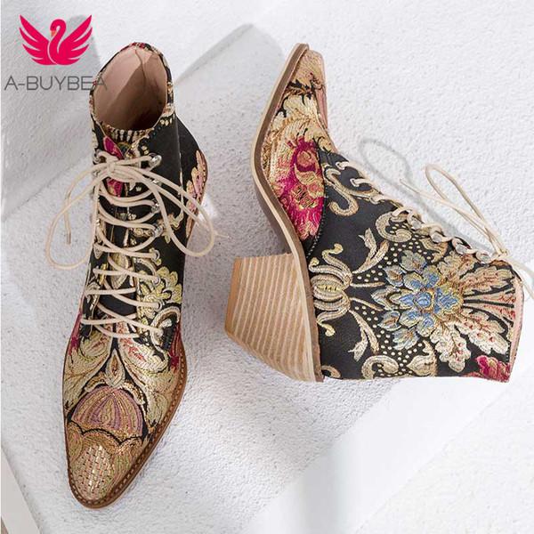Kadınlar Casual Yığılmış Yüksek Topuklu Nakış Çiçek Lace Up Ayak Bileği Çizmeler Ayakkabı Kadın Bayanlar Ayak Bileği Patik Ipek Saten Ayakkabı Boot Botas Mujer