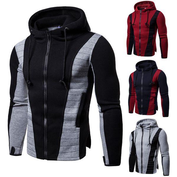 2018 Winter neue Winter Hoodie Herrenmode schlanke Pullover Volltonfarbe Stehkragen Sportswear Sweatshirt Herren Sportswear