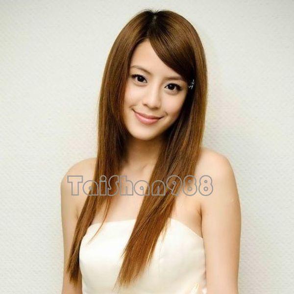 Parrucca di capelli lunghi della parrucca della signora delle donne diritte marroni lunghe di nuovo modo caldo + cappuccio