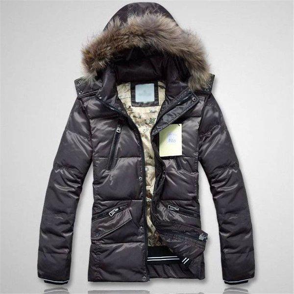 New Mens Designer Veste plumes style Manteau à capuchon de fourrure Thich chaud coupe-vent Veste Fashion Zipper Manteau de luxe poches Vêtements