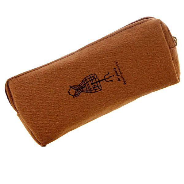 VOOYE Canvas Retro Pencil Pen Case Cosmetic Makeup Bag Coin Pouch Zipper Bag Purse Mini Storage Bag(grey)