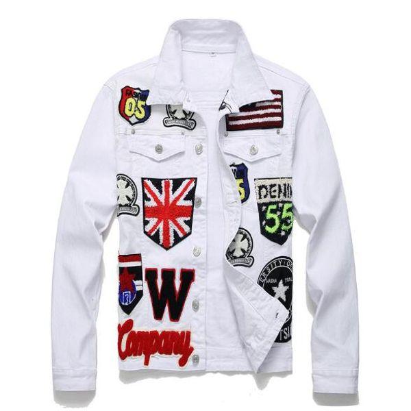 Erkek Ceket İngilizce Bayrağı Kafatası Işlemeli Beyaz Denim Ceket Harfler Rozeti Uzun Kollu Streç Ceket Patchwork Giyim