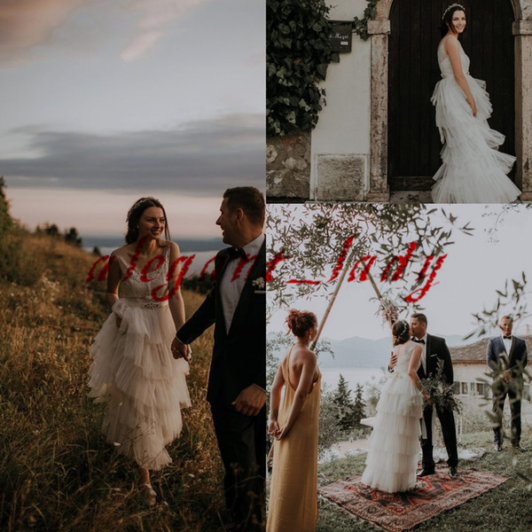 Fairy Beach Wedding Dresses with Crystal Belt 2019 V-neck Tiered Ruffles Skirt Lace Summer Holiday Seaside Boho Bridal Reception Gown