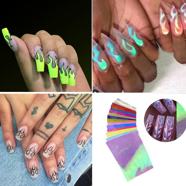 16 pieces of flame sticker nail sticker Flame Reflections Tape Adhesive Foils DIY Decoration Laser reflective nail cool