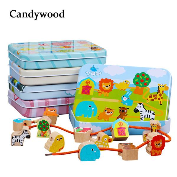 Beech Wood Blocks Cartoon Animals Fruit Block Wooden Toys Stringing Threading Beads Game Educational Toy For Baby Kids Children Q190521
