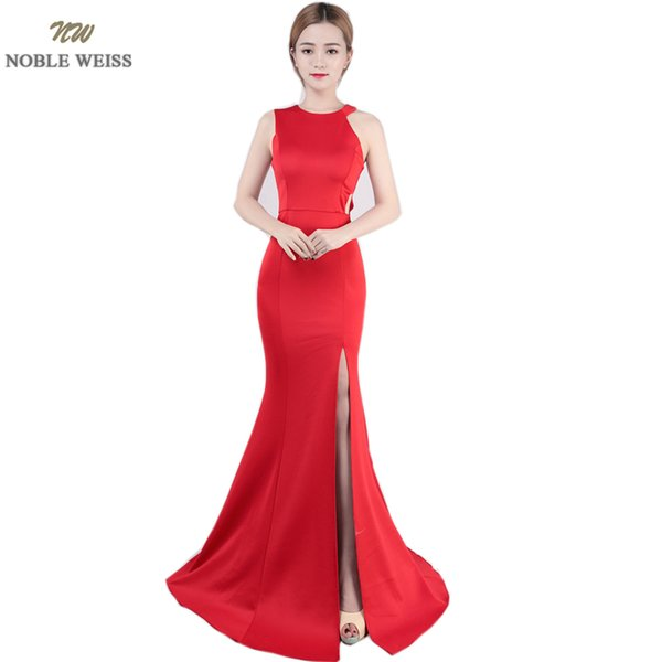 wholesale Exquisite O-Neck Evening Gown 2019 Cutaway Sides Sexy Thigh High Slits Prom Dress Simple Design Evening Dress