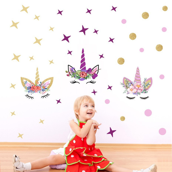 Hot Selling Unicorn Multi Star Dots Wall Stickers Kids Girls Bedroom TV Background Amusement Pleasure Ground Wallpaper Wall Decor