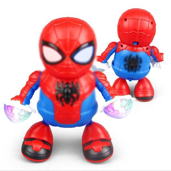 Neuheit Tanz Spiderman LED Elektronische Kinderspielzeug Action Figure Spielzeug Roboter Musik The Avengers Spiderman Super Hero