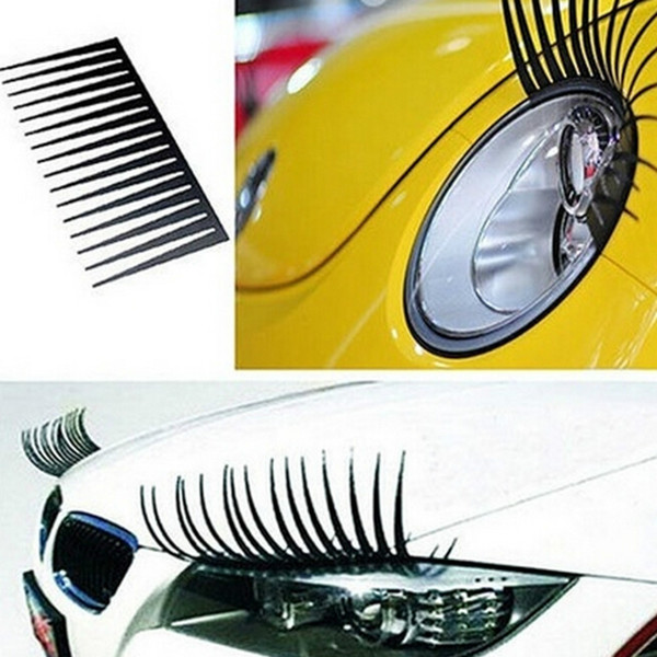 2 unids 3D con Encanto Negro Fake Eye Lash Sticker Car Headlight Decoración Divertido Decal