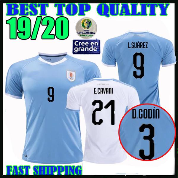 Copa America 2019 Uruguay maillots de football 19 20 à domicile # 21 E.CAVANI # 9 L.SUAREZ # 3 D.GODIN # 7 maillots de football de rodriguez Thaïlande