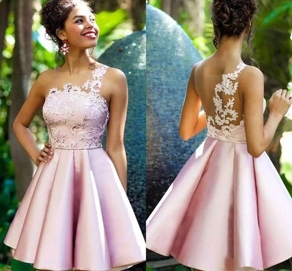 201o New Pink Short Lace Cocktail Dresses Lovely One Shoulder Prom Homecoming Party Cocktail Gown Celebrity Graduation Dresses BC2038