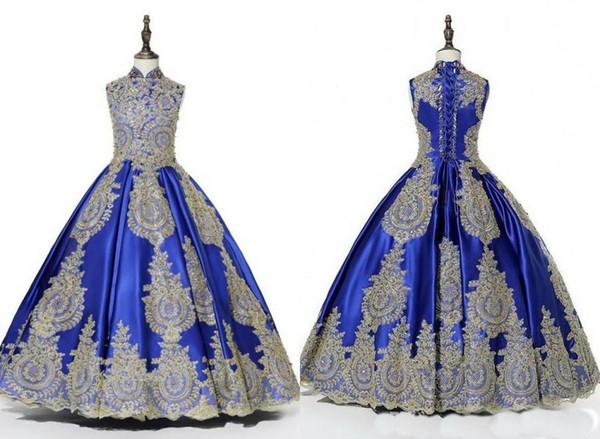 2020 Real Photo Royal Blue ouro Embellish Meninas Pageant Vestidos bola alta Neck Vestido de paetês frisados Crianças Prom Party Dress Floristas
