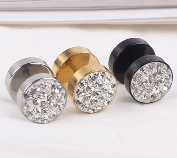 jewelry 1Piece Punk Black Gold Silver Stainless Steel Stud Men Full Crystal Earring Fashion Fake Ear Plug Body Piercing Jewelry