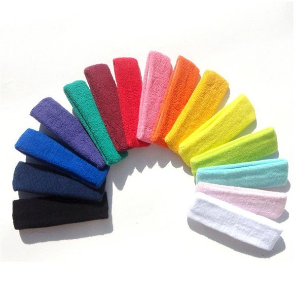 1pc high quality Women/Men Cotton Sweat Sweatband Headband Yoga Gym Stretch Head Band For Sport Sweatband #3n19 HS