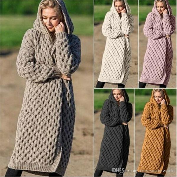 Для женщин Длинные свитера Кардиган Плюс Размер зимы с капюшоном Дамы теплые куртки с длинным рукавом Мода Женщины одежда