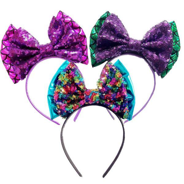 Hair Bows Big Sequin Bowknot Glitter Hair Band Mermaid Headband For Kids Hairbands Baby Girls Hair Accessories Children Dance Party Headwear