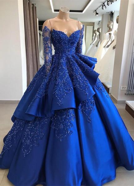 Атласные платья с открытыми плечами Quinceanera 2019 с вышивкой с длинными рукавами и бисером Многослойное бальное платье с скользящим шлейфом Платья принцессы BC1125
