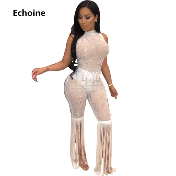 Women Sequined Sheer Mesh Jumpsuit Sleeveless Bodycon Romper Tassel Pants Clubwear Sexy Club Outfit Women Party Sheer Jumpsuit