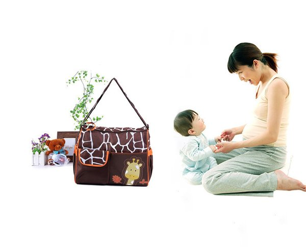 Marca animal bolsas de pañales bolsa de momia bolsa de pañales cebra jirafa babyboom diseños de dibujos animados multifuncional artículos para bebés bolsas de almacenamiento de hombro