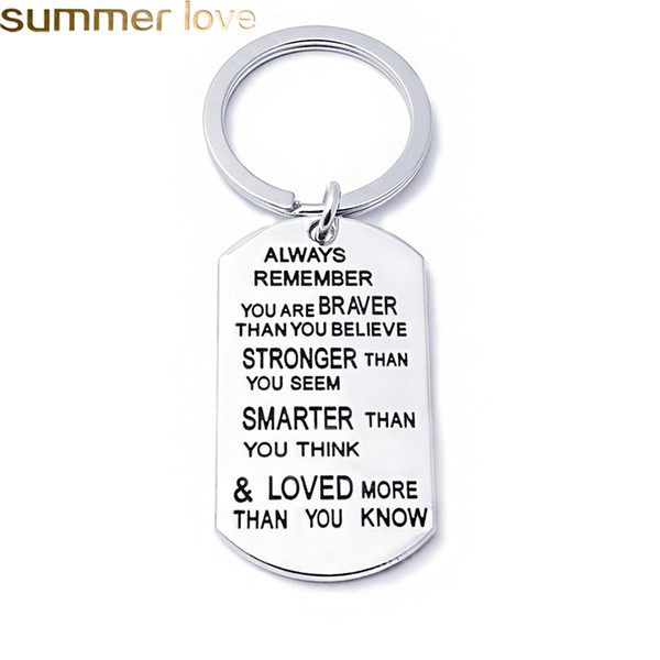 best selling Fashion Stainless Steel Key Chain Ring Engraved Inspirational Word You are Braver Stronger Smarter Than You Think Charm Family Friend Jewelr