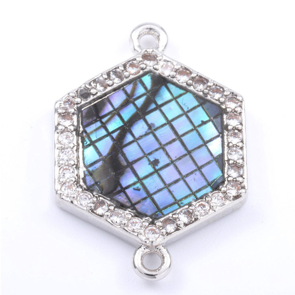 Singreal Abalone Shell Micro Pave Hexagon shaped Charms Bracelet necklace Choker Pendant connectors for women DIY Jewelry making