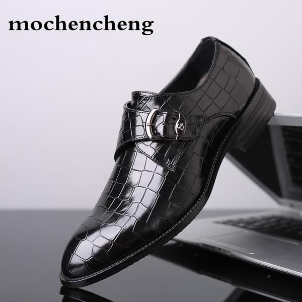 2019 taille 48 bout pointu boucle sangle appartements de mariage robe hommes formelle chaussures en cuir véritable cuir Oxford chaussures de mariage pour hommes