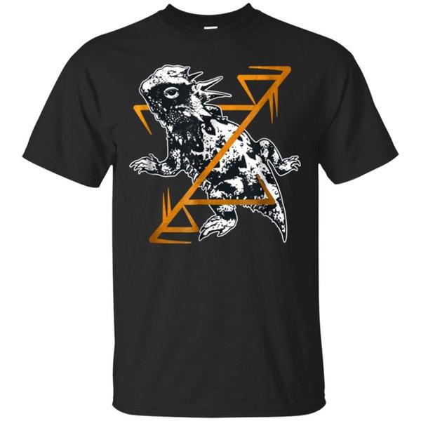 Texas Chifre Lagarto Esboço dos homens T-Shirt Preta Tamanho S-5XL Das Mulheres Dos Homens Unisex Moda tshirt Frete Grátis
