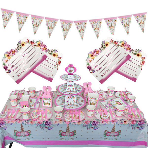 Birthday Party Decoration Girls Invitation Card Banner Disposable Tableware Kit Pink Unicorn Theme Party Supplies Kids Party Decor Kids Party