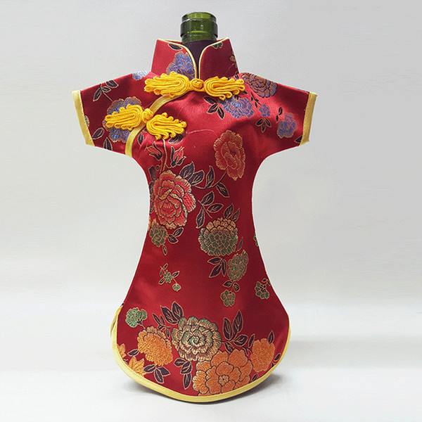 Christmas Bottle Covers Cheongsam Wine Bags Silk Brocade Wine Bottle Clothes Chinese Style Home Decoration