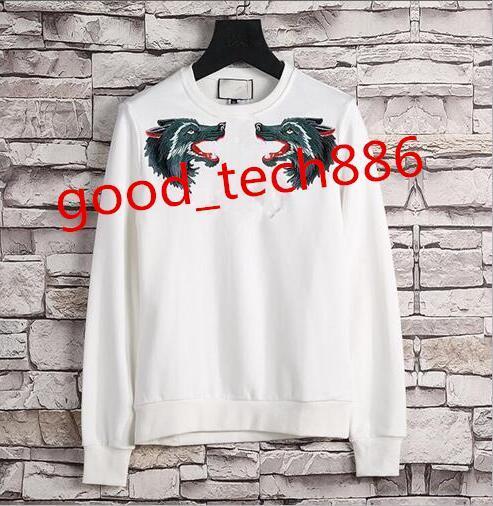 top popular 2019 fashion brand wolf head embroidery men hoodies wear woman sweatshirts autumn and winter casual hooded sports jacket sportswear 2019