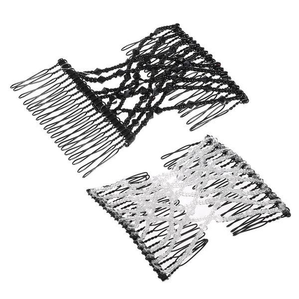 Perle di vetro Pettine magico Elastico Doppio inserto Clip Chic Stretch Hair Head pettine polsino Colori casuali Strumento per lo styling dei capelli fai da te W4531