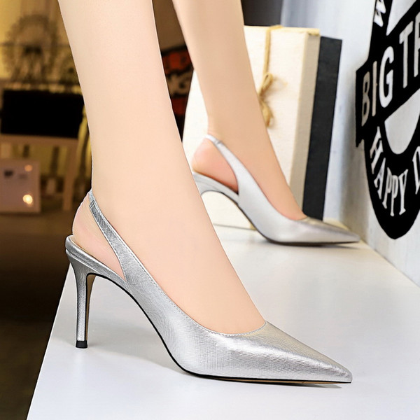 top popular Big size 34 to 40 41 42 43 Concise strappy sling back pointy stiletto heels wedding shoes 8cm multi colors 2021