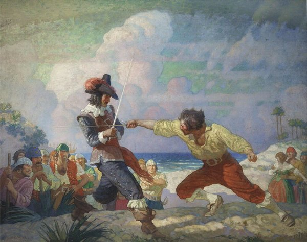 Newell Convers Wyeth The Duel On The Beach Home Decor Handcrafts /HD Print Oil Painting On Canvas Wall Art Canvas Pictures 191111