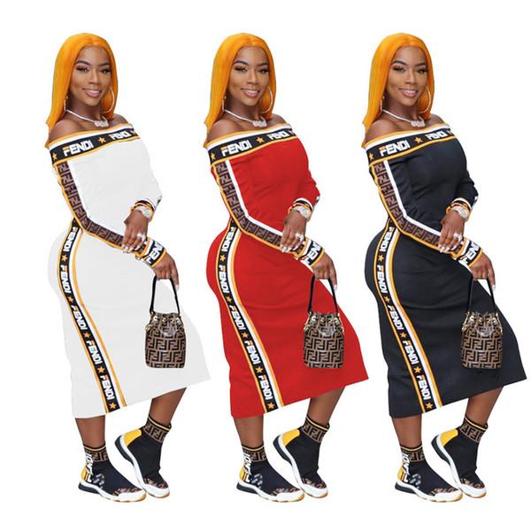 Women Long Sleeve Summer Dresses FF Letter Print Striped Ribbon Patchwork Dress Luxury Off Shoulder Plus Size Party Evening Dresses C61705
