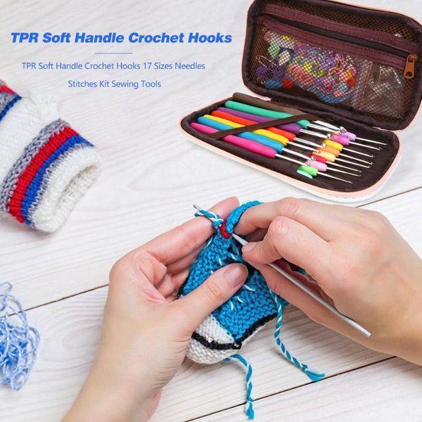 Novice Knitting Tool TPR Soft Handle Crochet Hooks 17 Sizes Needles Stitches Kit Sewing Tools