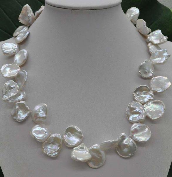 Collana di perle coltivate naturali rare rare 16 * 17mm Keshi