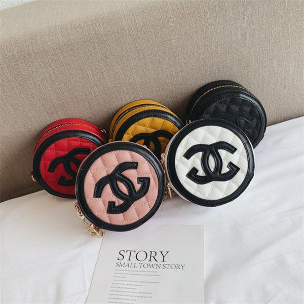 Nueva bolsa de hombro para niños 5 colores niñas accesorios de cadena Bolsas bandolera de diseñador Enrejado de diamante Bolso redondo Princesa monedero JY463