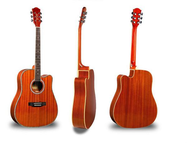 Бесплатная доставка 41 дюймов акустическая гитара все Sapele деревянная гитара свет ретро цвет полосы начинающих, начинающих практиковать музыкальный инструмент