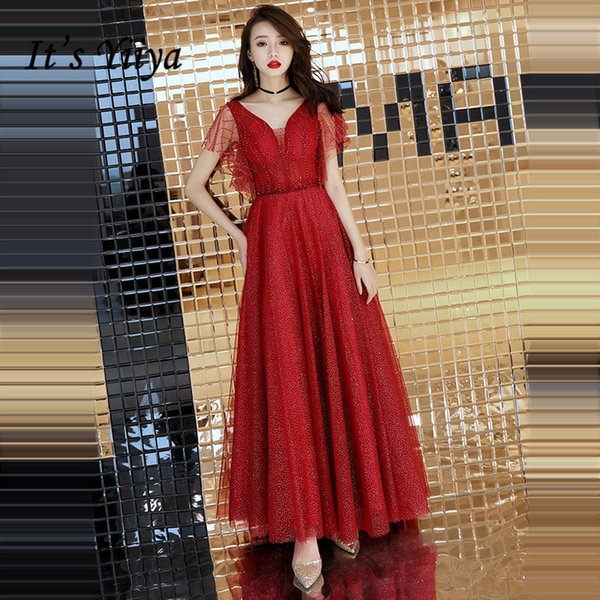 It's Yiiya Evening Dress 2018 Wine Red Beading Crystal V-neck Lace A-line Floor-length Dinner Gowns Sb011 Robe De Soiree Y19042701
