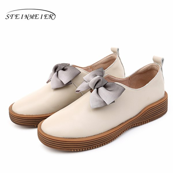 Women's Flats Oxford Shoes Woman Genuine Leather platform Sneakers Ladies Brogues Vintage Casual Shoes For Women Footwear 2019 as087